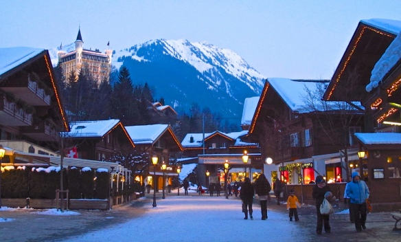 Gstaad Promenade with the Gstaad Palace--one of the village's grand five-star hotels--looming over in the distance