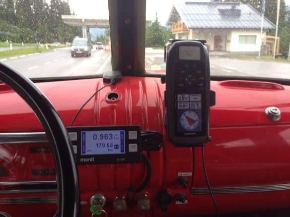 """Navigation gear--no traditional speedometer or odometer, instead a Monit 200 Tripmeter and Garmin 796. Both measure distance speed with GPS."""