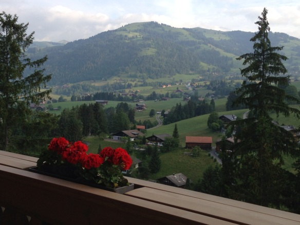"""Early AM views of Gstaad from the room at Alpina Lodge"""