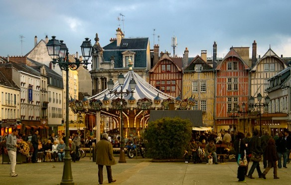 View of the Old Town in Troyes with merry-go-round (photo found online)